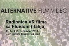 Radionica VIRTUELNI FILM (VR) u okviru festivala Alternative film/video 2018. u DKSG