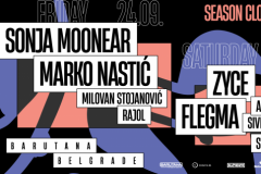 Vikend zatvaranja osme sezone Barutane uz minimal i techno legendu Sonju Moonear, Marka Nastića i progressive trance projekte Zyce i Flegma