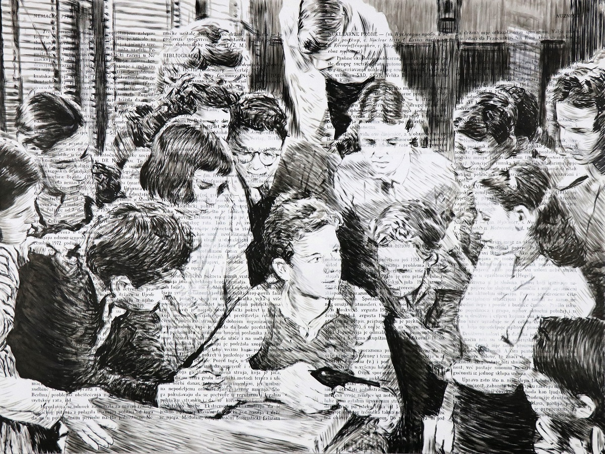 Nemanja Nikolic Big drawing for The Plot, 2020, ink & acrylic on wood