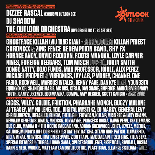 Outlook festival 2017 - line up