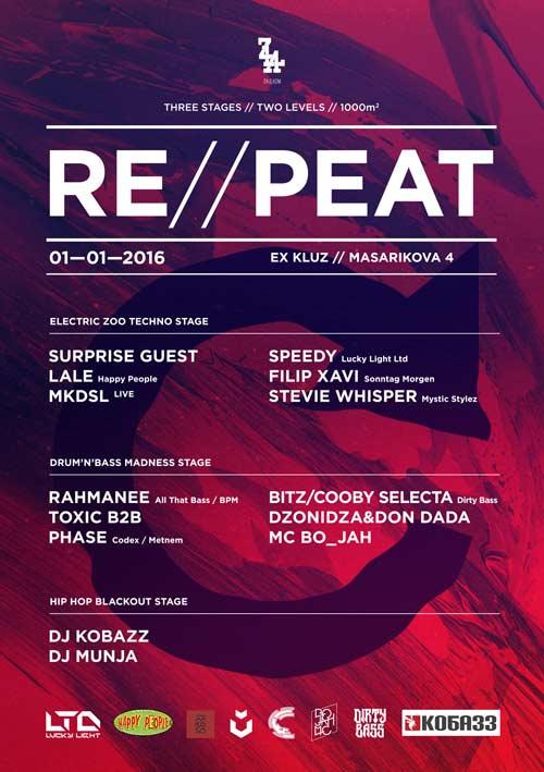 REPEAT PARTY! Nastavak nogovodišnje zabave na 3 stejdža za ljubitelje underground zvuka! | Beograd 2016
