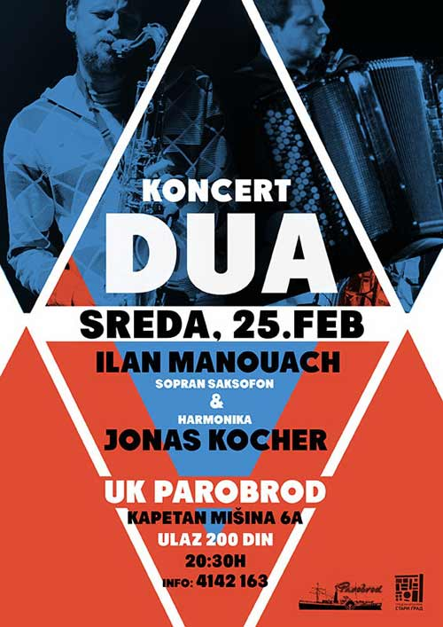 Jonas Kocher & Ilan Manouach: ŠVAJCARSKO-GRČKI duo nastupa u PAROBRODU! | Beograd | 2015