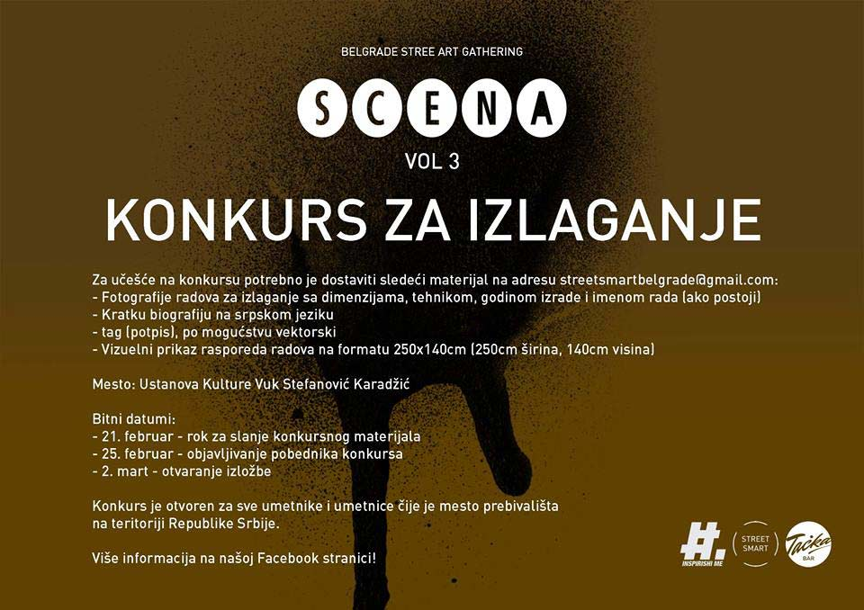 STREET SMART kolektiv raspisuje konkurs za učešće na izložbi SCENA VOL 3 | Poziv za ulične umetnike