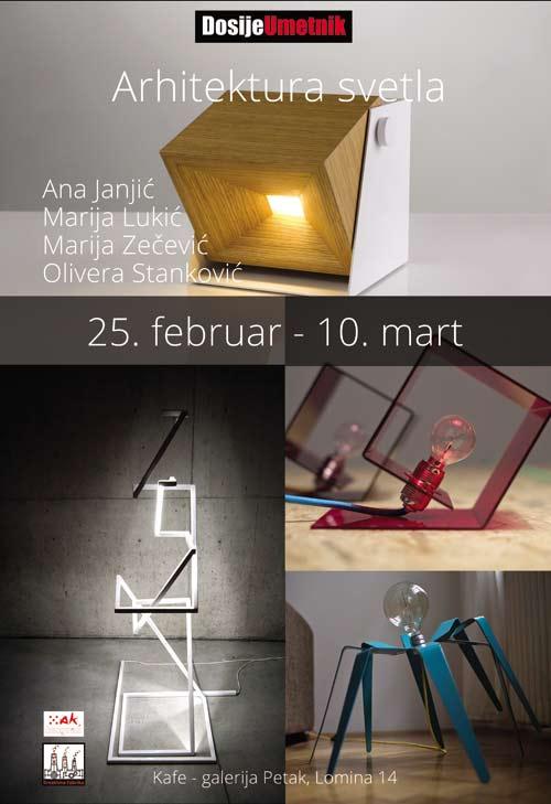 Arhitektura svetlosti: Izložba grupe autora u kafe galeriji Petak | Marija Zečević, Ana Janjić, Olivera Stanković i Marija Lukić.