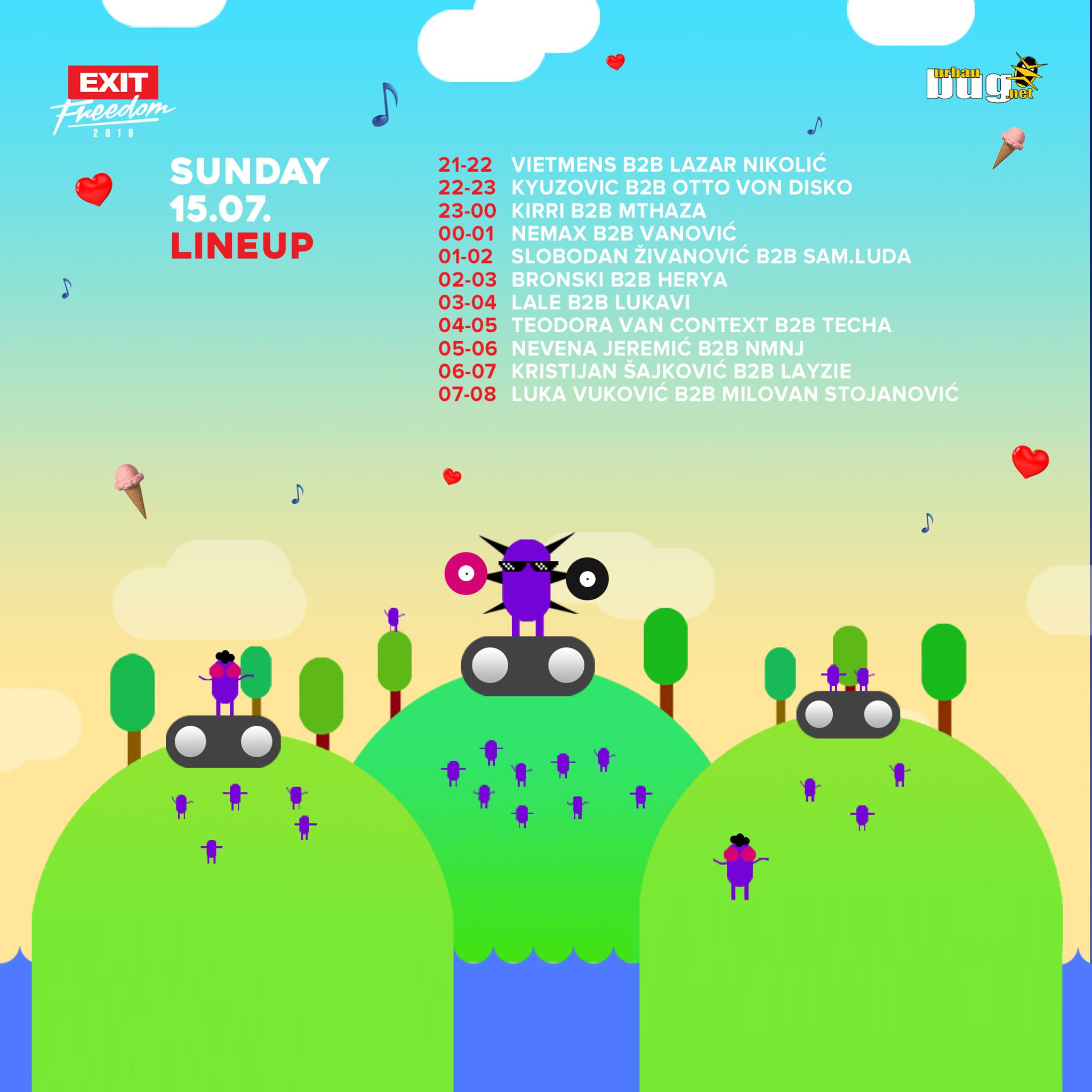 Urban Bug Stage @ Exit 2018 - lineup - nedelja