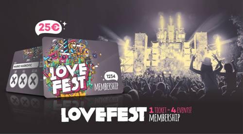 Četiri najveće godišnje žurke za samo 25 evra uz Lovefest 2015 Membership karticu!