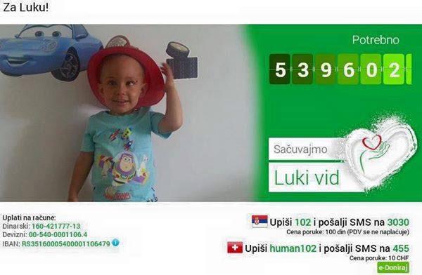 Humanitarni party: Pomogni trogodišnjem Luki da sačuva vid! | Klub KPTM
