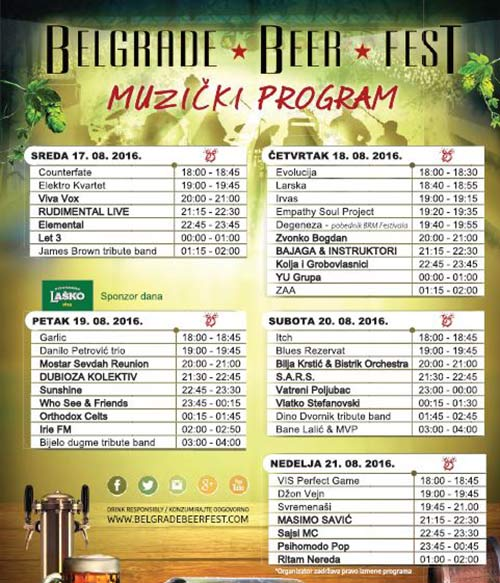 Belgrade Beer Fest 2016 - kompletan program i satnica