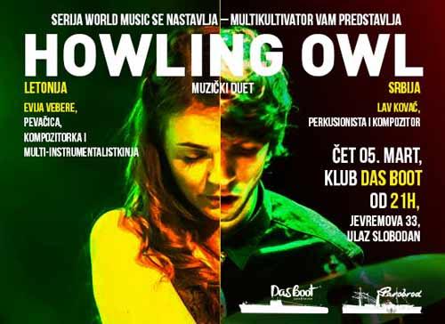 MULTIKULTIVATOR predstavlja duet HOWLING OWL u okviru WORLD MUSIC serijala!   UK Parobrod   Beograd   2015
