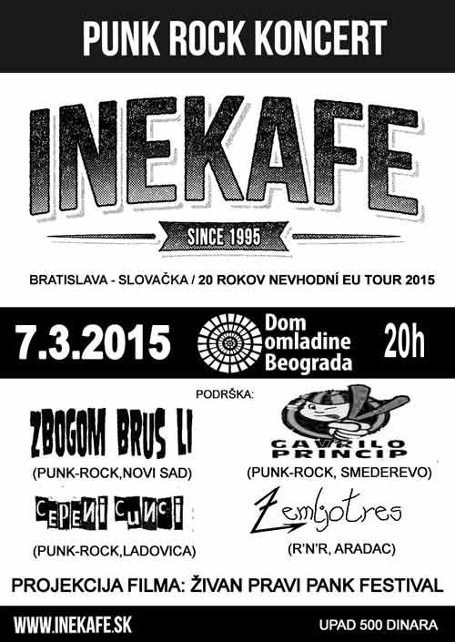 INE KAFE: Punk rock sastav iz Bratislave na evropskoj turneji! | Beograd | 2015