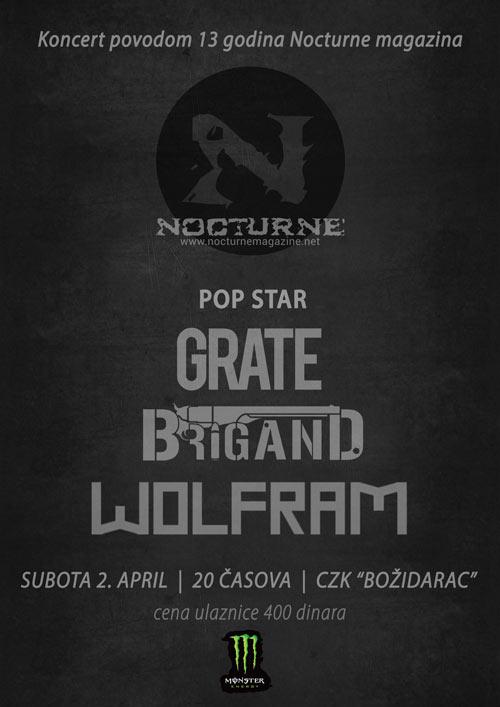 Nocturne magazin slavi 13. rođendan uz Wolfram, Popo Star, Grate i Brigand