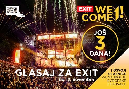 Glasaj za Exit i Sea Dance! Još samo 3 dana do kraja glasanja za Evropske festivalske nagrade!