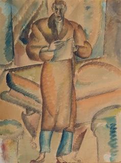 Ivan Radovic Autoportret sa klavirom,akvarel i olovka na papiru