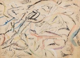 Ivan Radovic Kompozicija sa aktovima,akvarel i tus na papiru