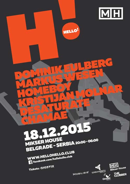 Hello! Putujući klabing stiže u Beograd! Koncert, Klub i Noć.   Mikser House, Beograd 2015