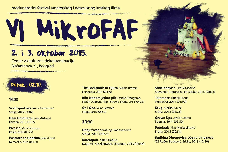 MikroFAF 2015: Međunarodni festival amaterskog i nezavisnog kratkog filma | CKD Beograd